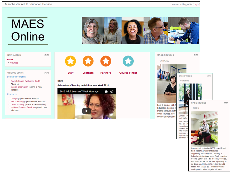 Image showing Manchester Adult Education Service's Moodle Home Page with changing case studies.