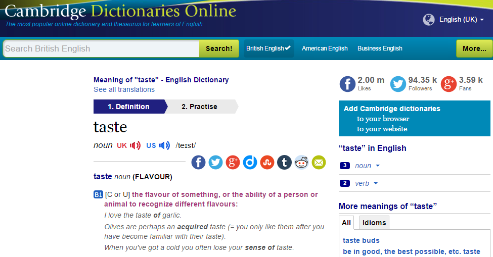 Cambrige Dictionary Online website